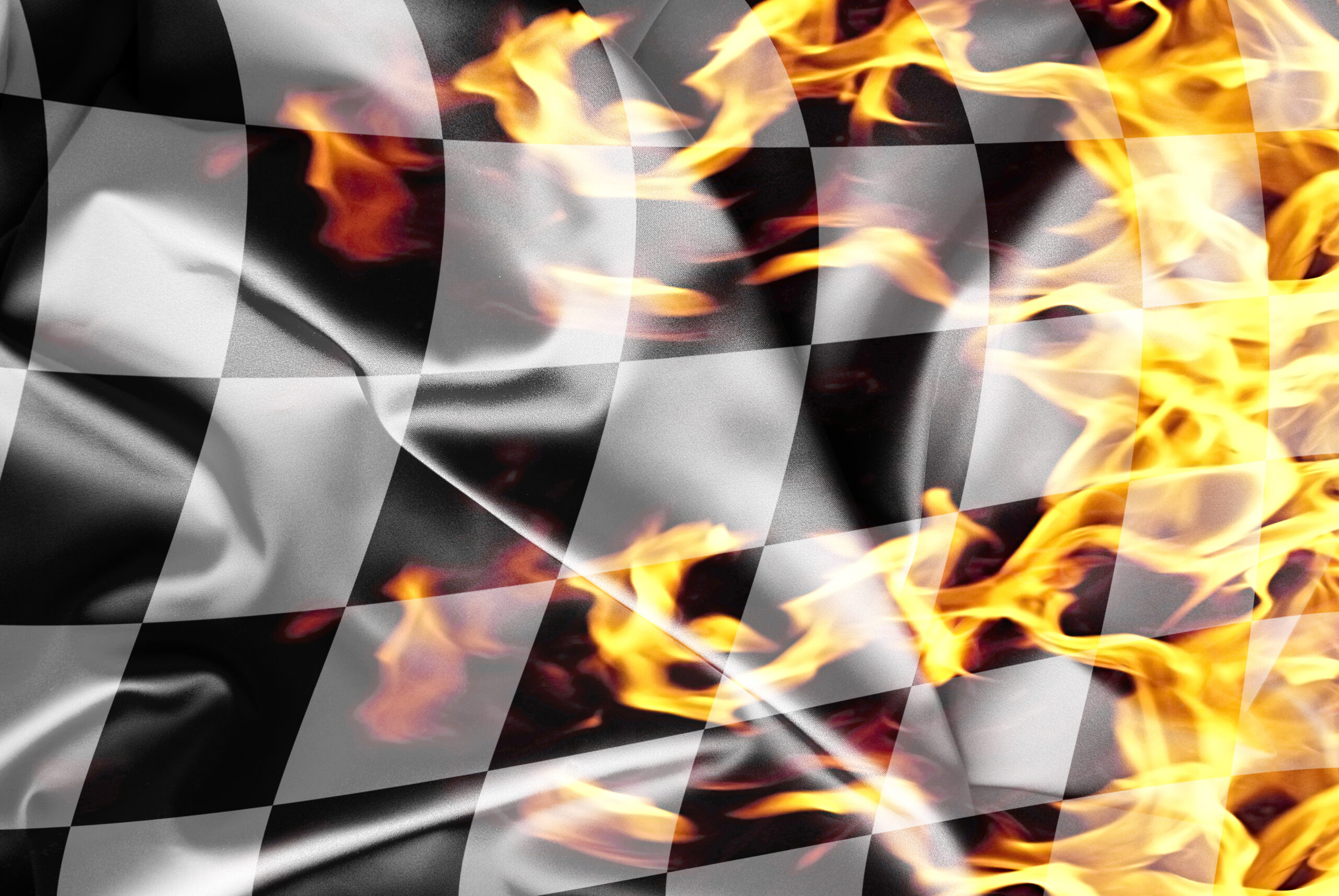 Checker Flag on fire