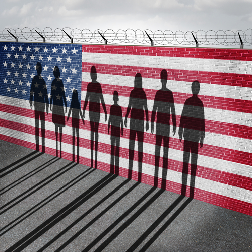 American,Immigration,And,United,States,Refugee,Crisis,Concept,As,People
